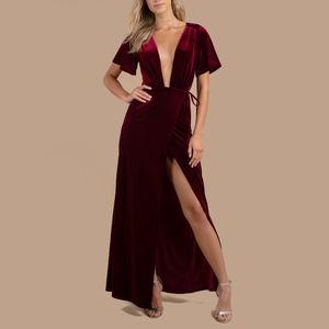 Tobi Penelope Wine Plunging Velvet Wrap Maxi Dress